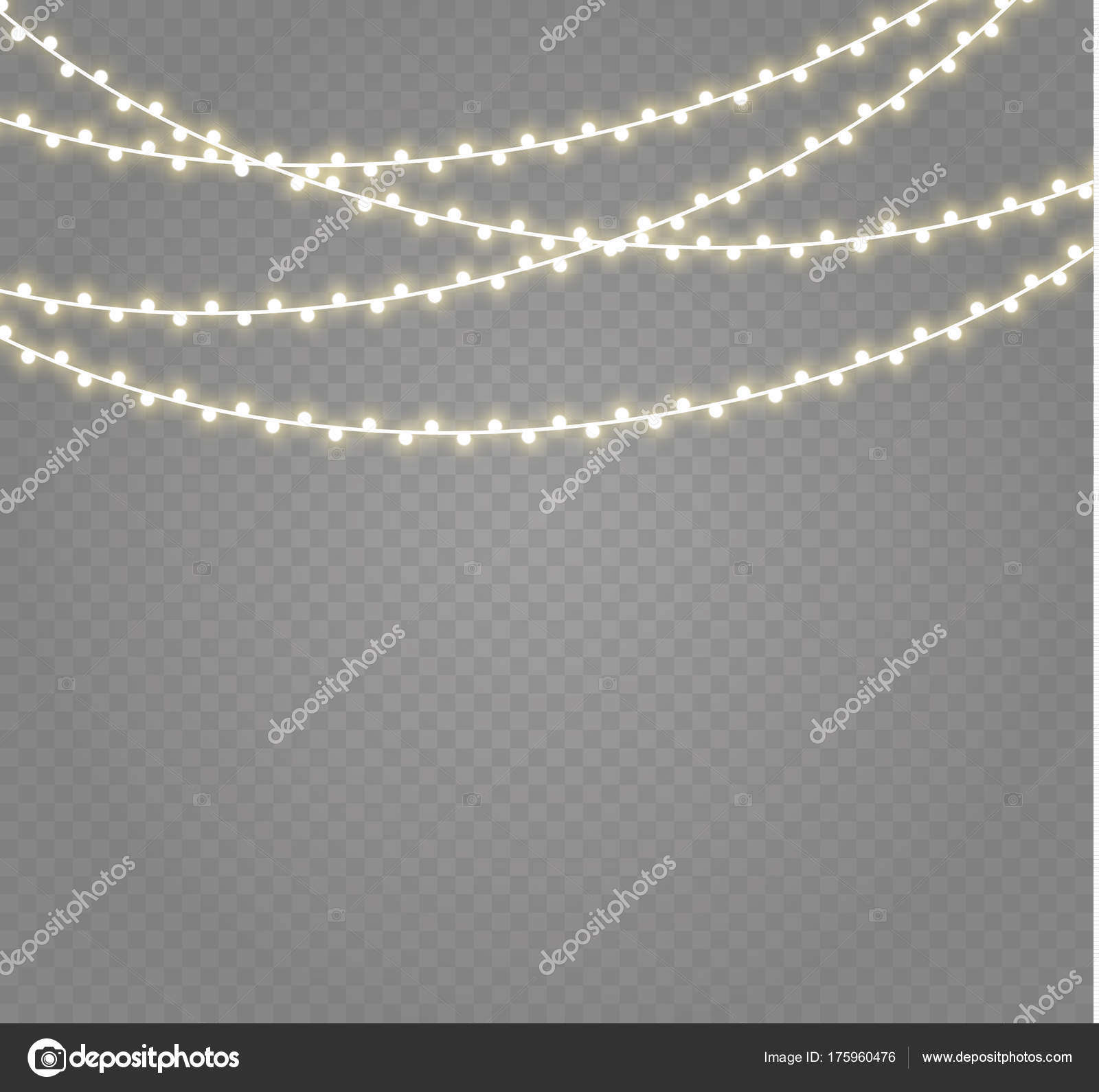 Christmas Lights Isolated On Transparent Background Xmas Glowing Garland Vector By Irina11998877gmail