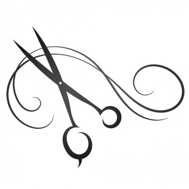 Scissors and hair sign for beauty salon