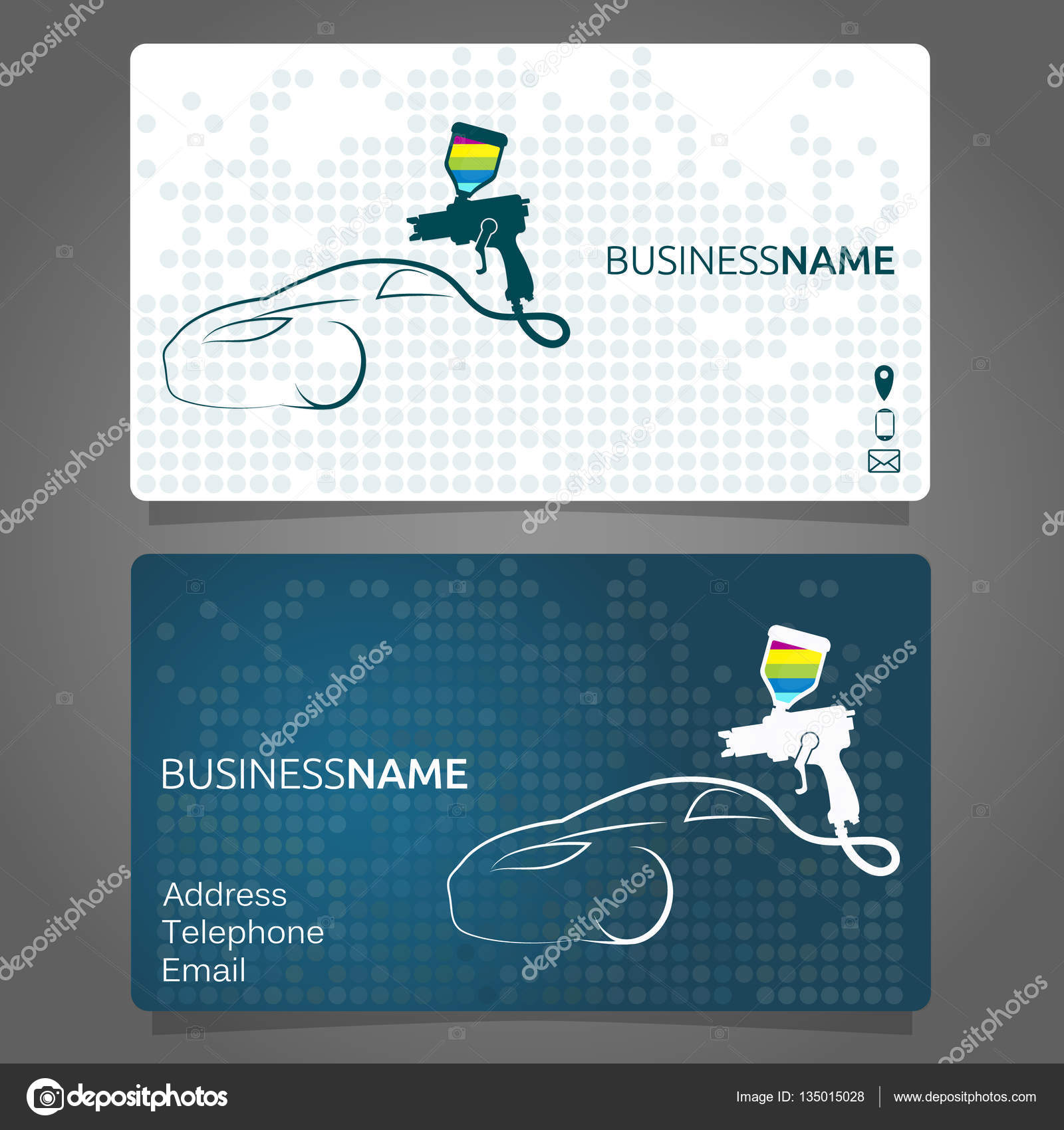 Business card for painting cars — Stock Vector © john1279 #135015028
