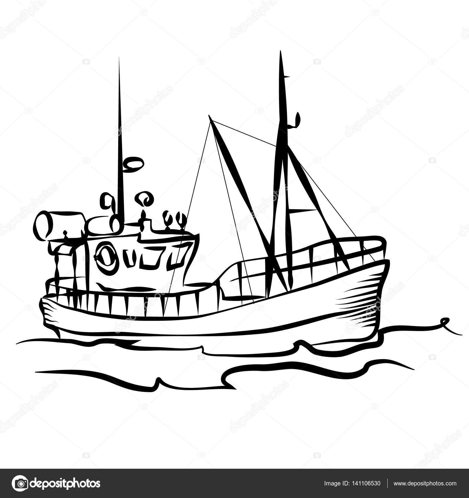 Fishing Boat Graphic Stock Vector 141106530
