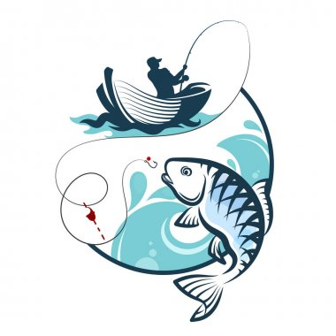 Fisherman fishing from a boat silhouette clip art vector