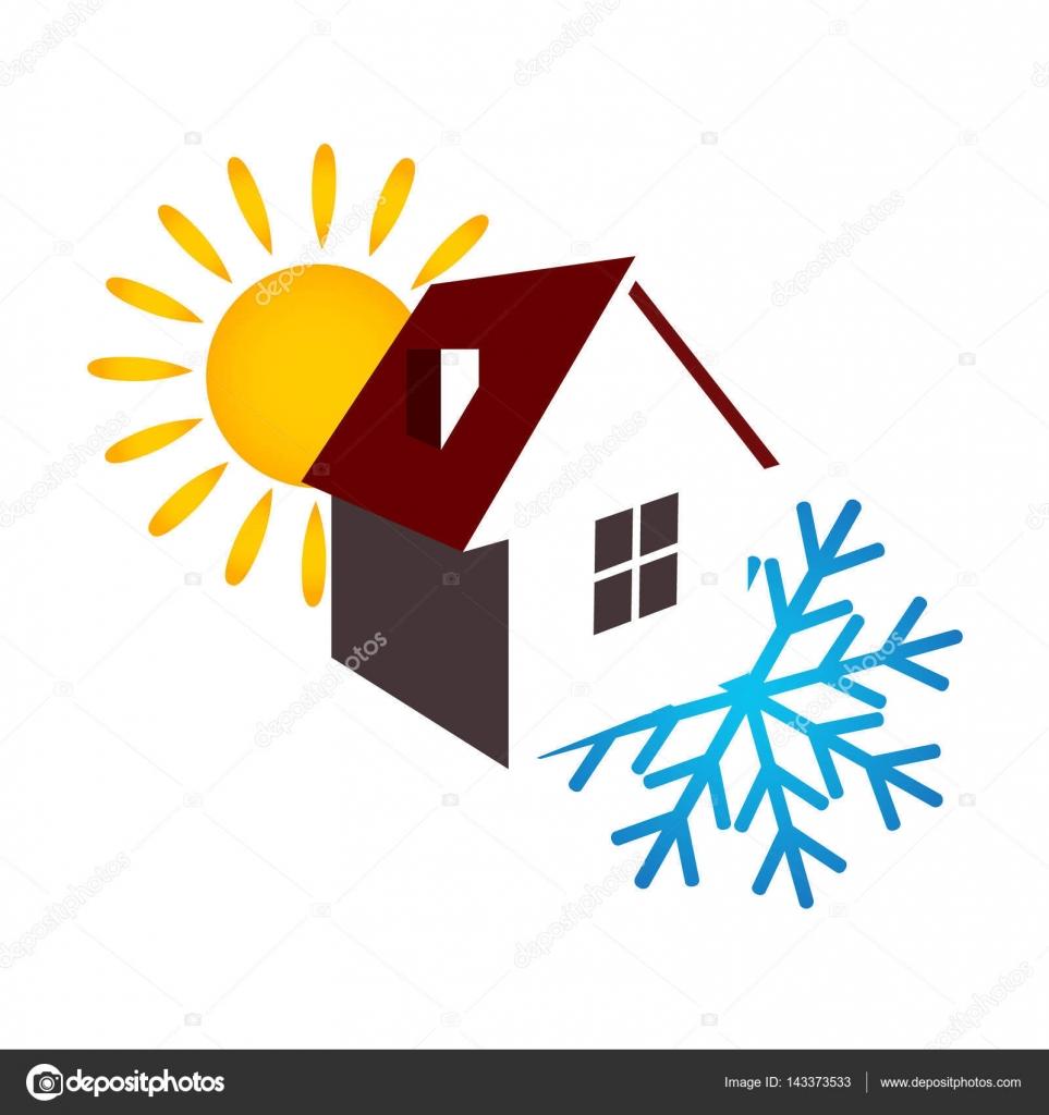 Eine Klimaanlage Haus Sonne und Schneeflocke — Stockvektor ...