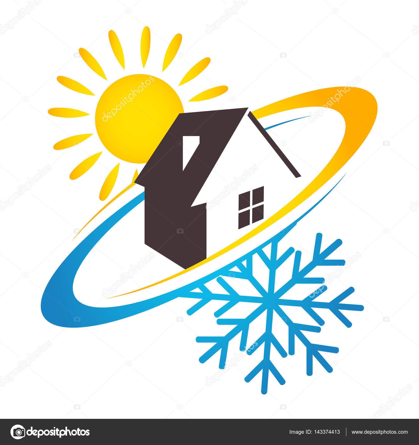 Haus Sonne und Schneeflocke-Design für Unternehmen — Stockvektor ...