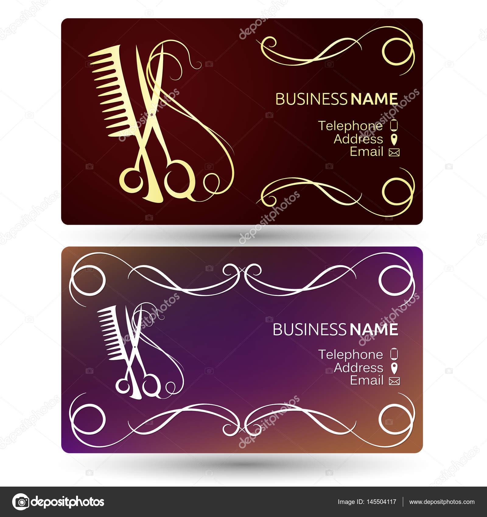 Beauty salon business card template stock vector john1279 145504117 beauty salon and hairdresser business card template vector vector by john1279 reheart Choice Image