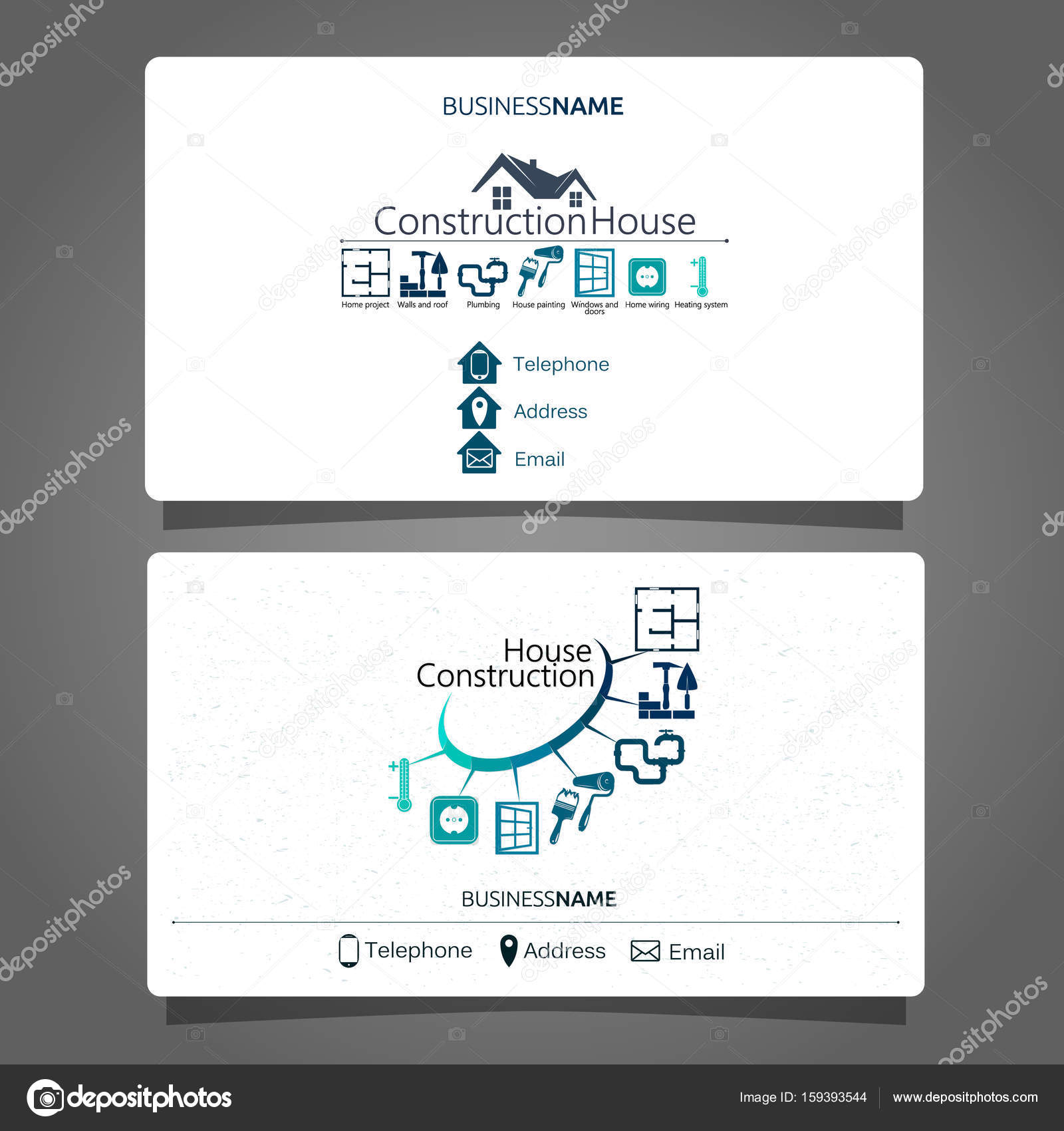 construction and maintenance of the house business card stock