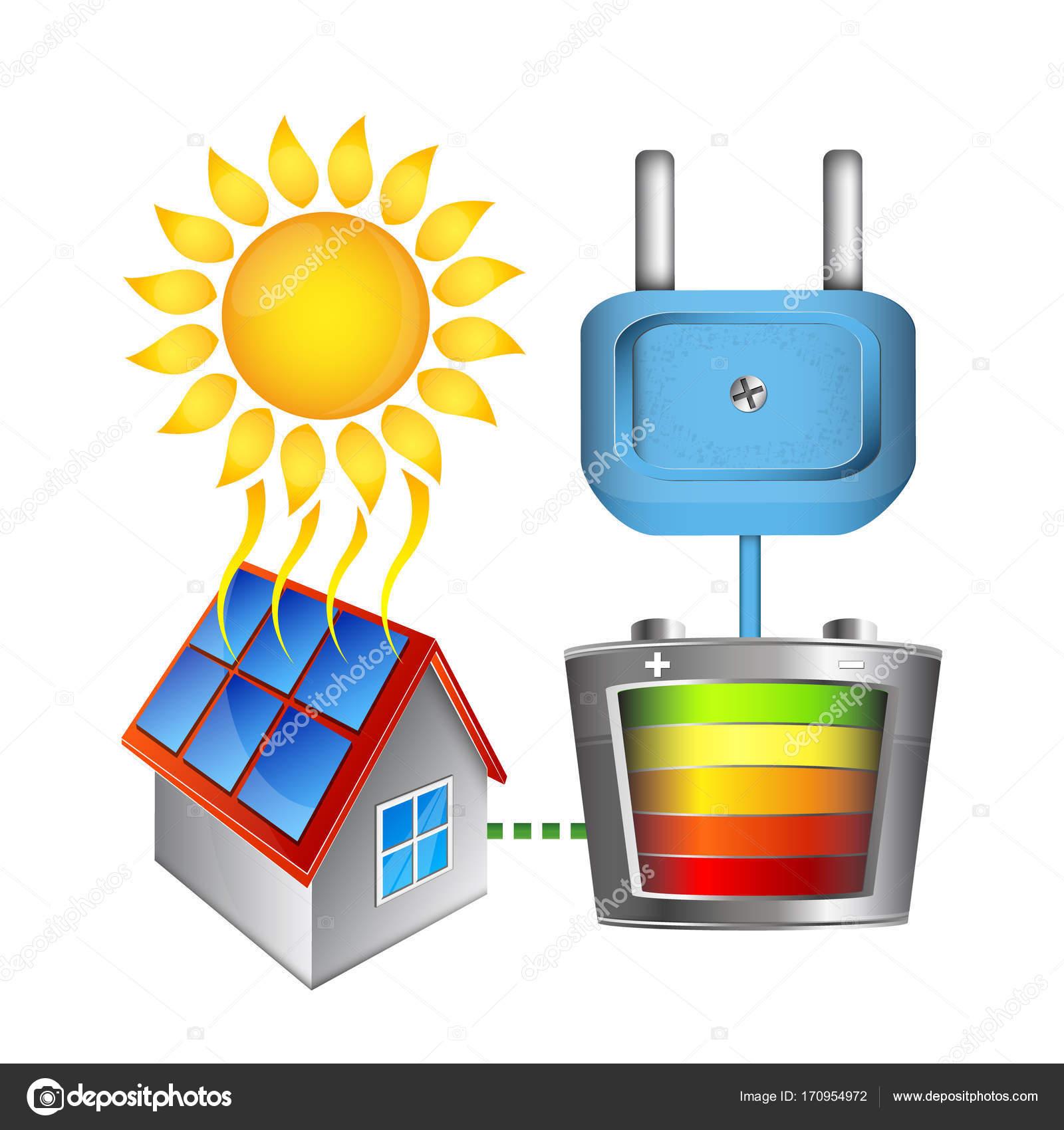 Umwandlung von Sonnenenergie in elektrischen Strom — Stockvektor ...