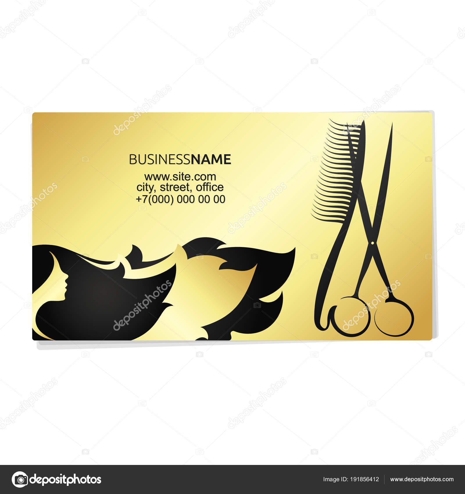 Beauty salon business card gold stock vector john1279 191856412 beauty salon and hairdresser business card gold concept vector by john1279 reheart Choice Image