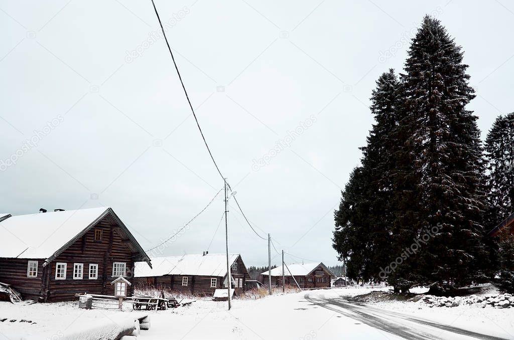 Russia. Karelia. Wooden house in the village of Kinerma in Karelia. November 16, 2017