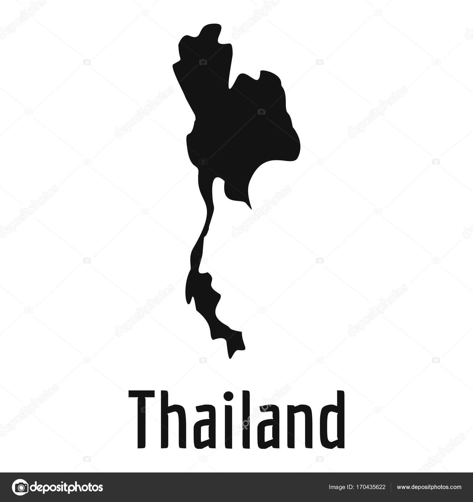 Carte Thailande Noir Et Blanc.Carte De La Thailande Dans Vector Noir Simple Image
