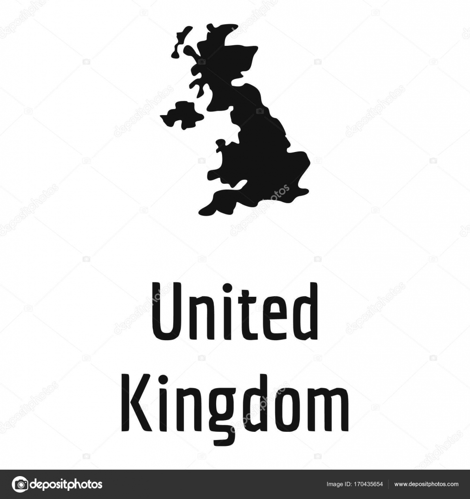 United Kingdom Map In Black Vector Simple Stock Vector - United kingdom map vector