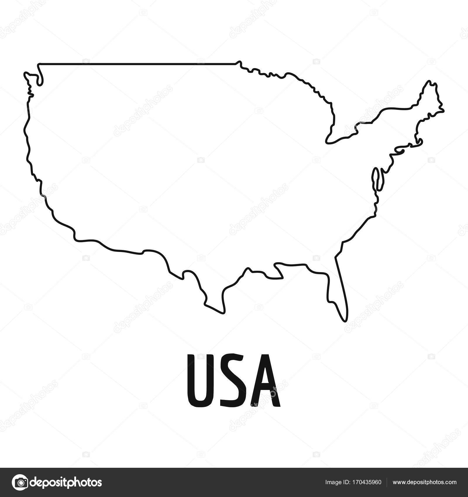Usa Map Thin Line Vector Simple Stock Vector Anatolir