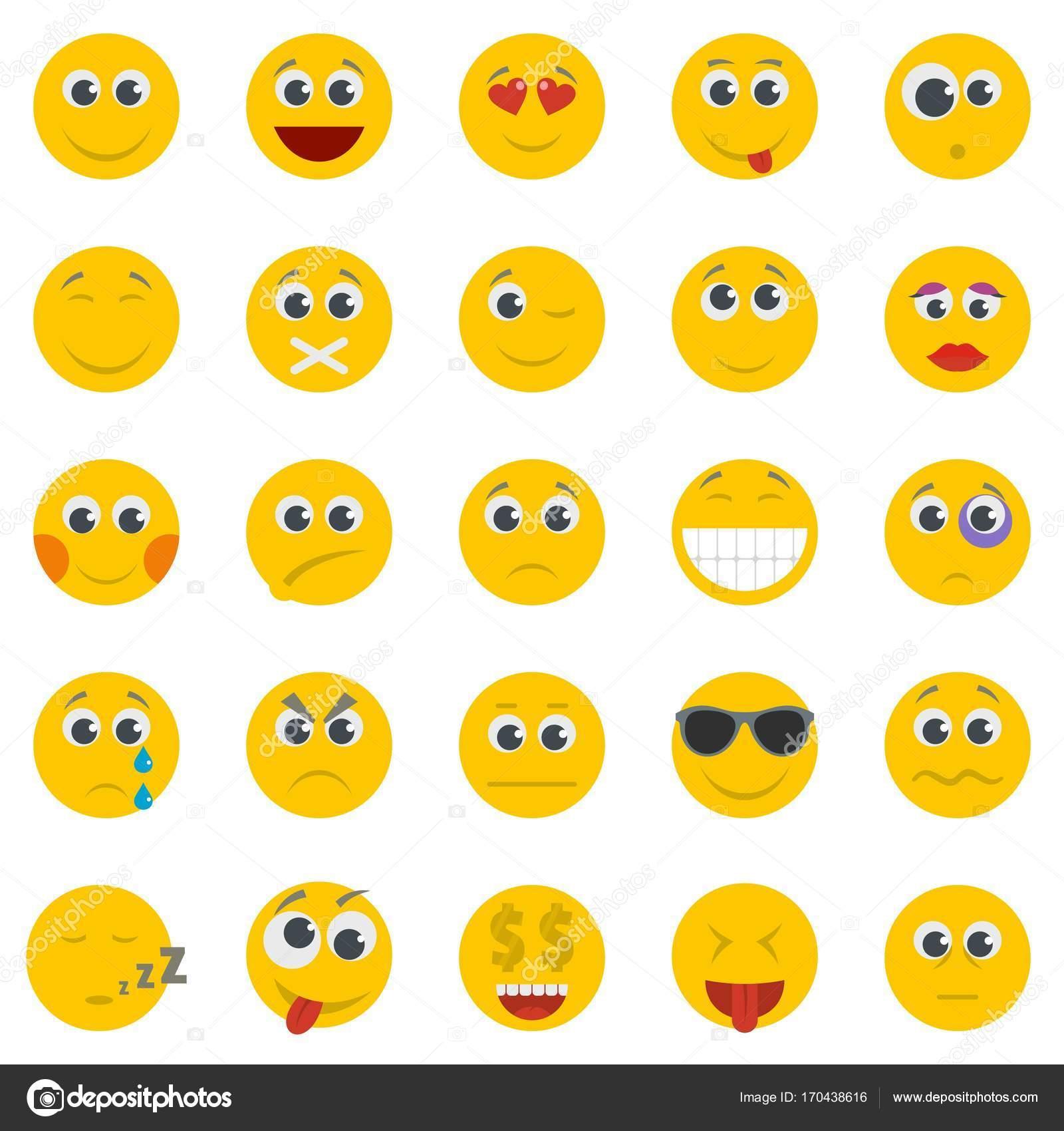 4228a247cc2 Conjunto de iconos aislado de la sonrisa, plano estilo– ilustración de stock