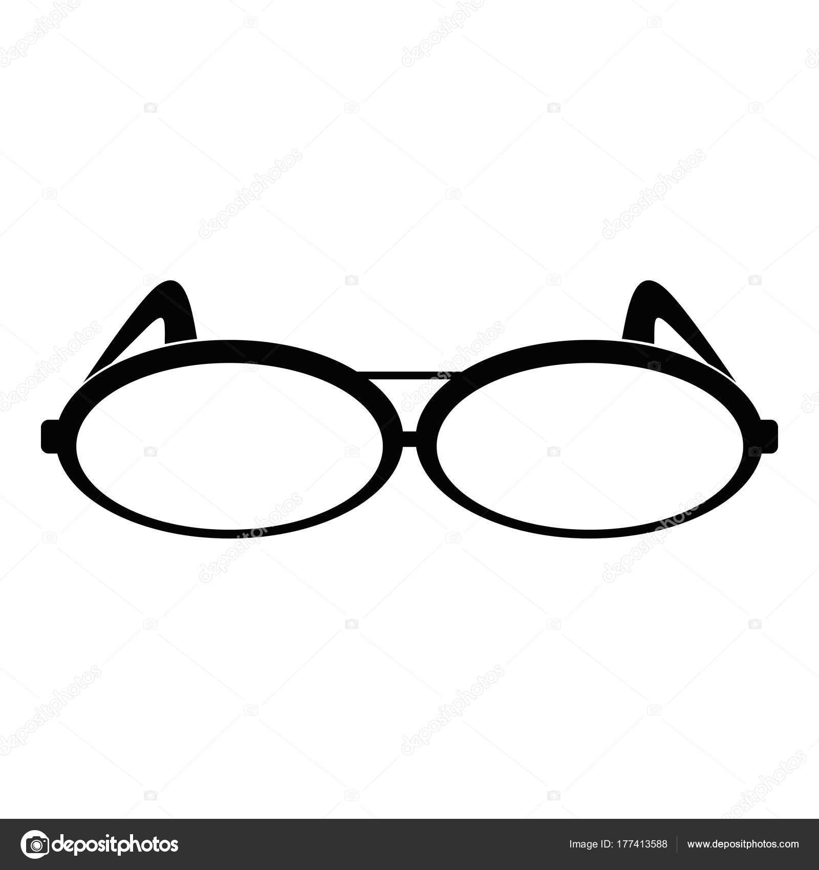 Okrągłe okulary ikona, prosty styl — Grafika wektorowa ...