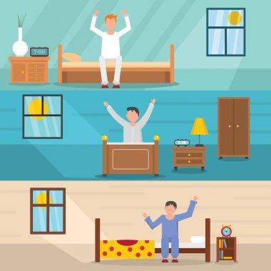 Wake up happy banner horizontal set, flat style
