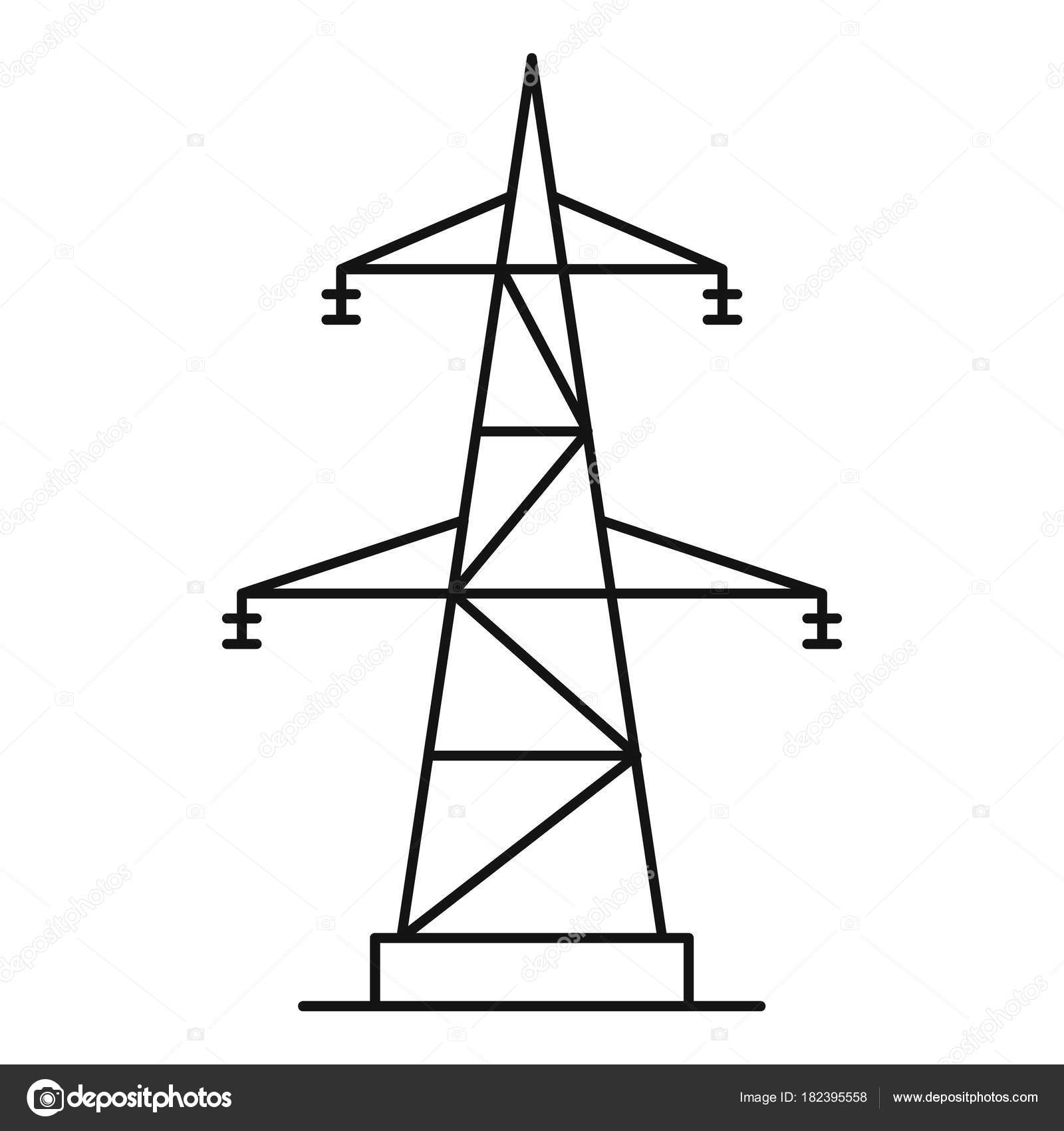 electrical power station icon  outline style  u2014 stock