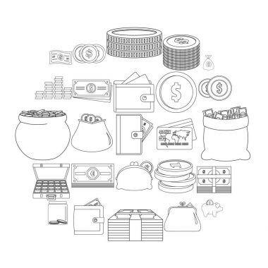 Money types icons set, outline style