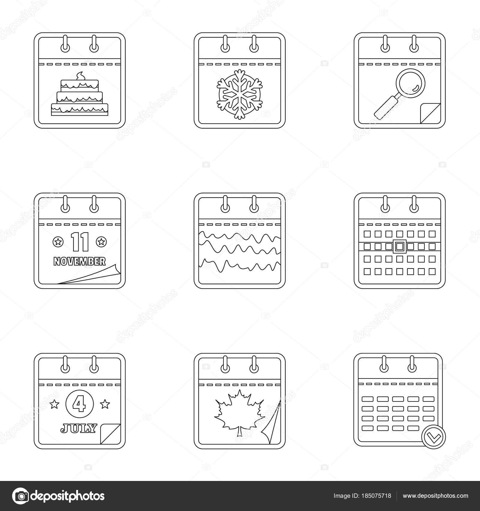 Tägliche Symbole Maschinenbordbuchsatz, Umriss-Stil — Stockvektor ...