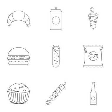 Floury icons set, outline style