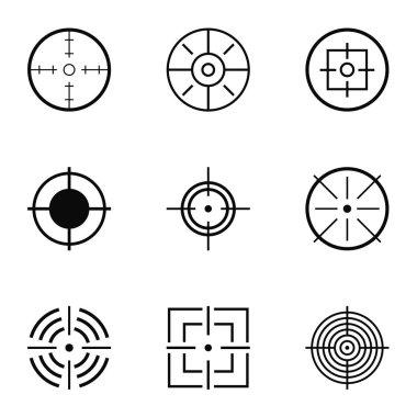 Aim hunt icons set, simple style