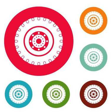 Tyre icons circle set vector