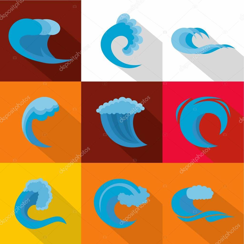 Big wave icons set, flat style