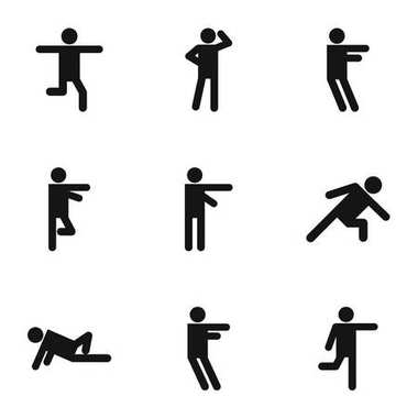 Motor activity icons set, simple style