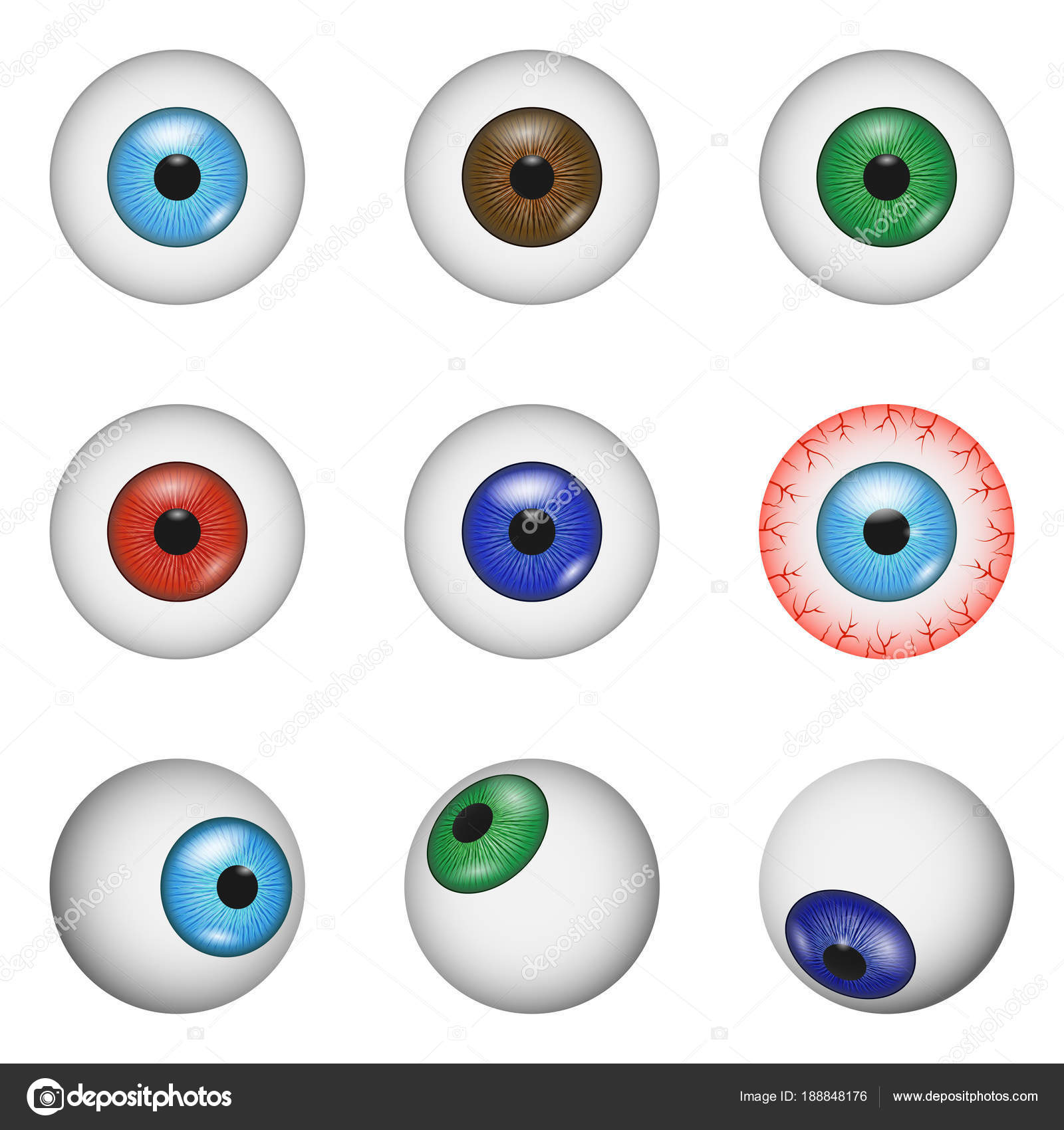 Eye ball anatomy mockup set, realistic style — Stock Vector ...