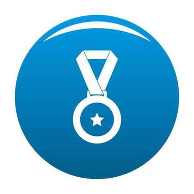 Medal icon blue vector