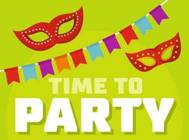Time to party logo, flat style