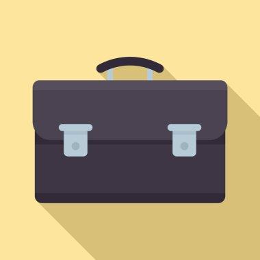 Leather suitcase icon, flat style