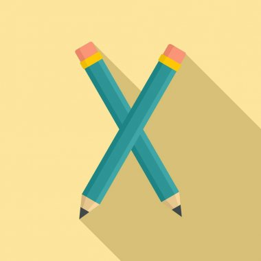 Crossed pencil icon, flat style