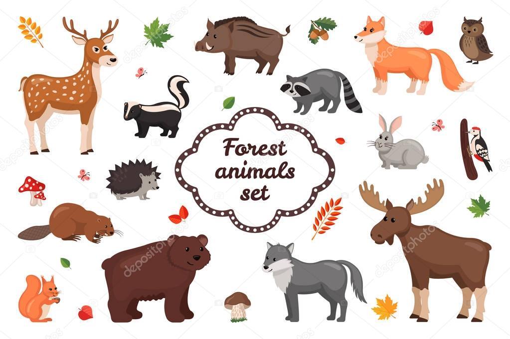 Forest animals set.