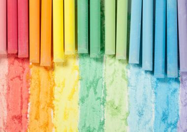 Bright multicolored chalks