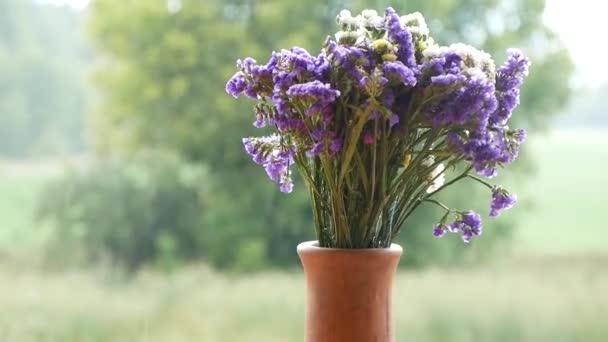 Divoké květy v keramické vázy na přírodu a déšť pozadí