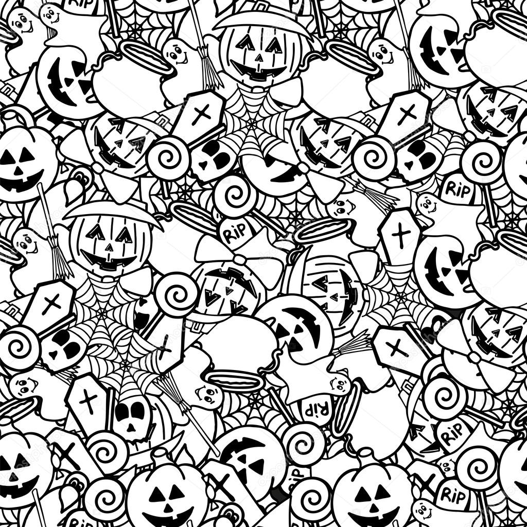 Patrón sin fisuras de Doodle de halloween. Para colorear para ...
