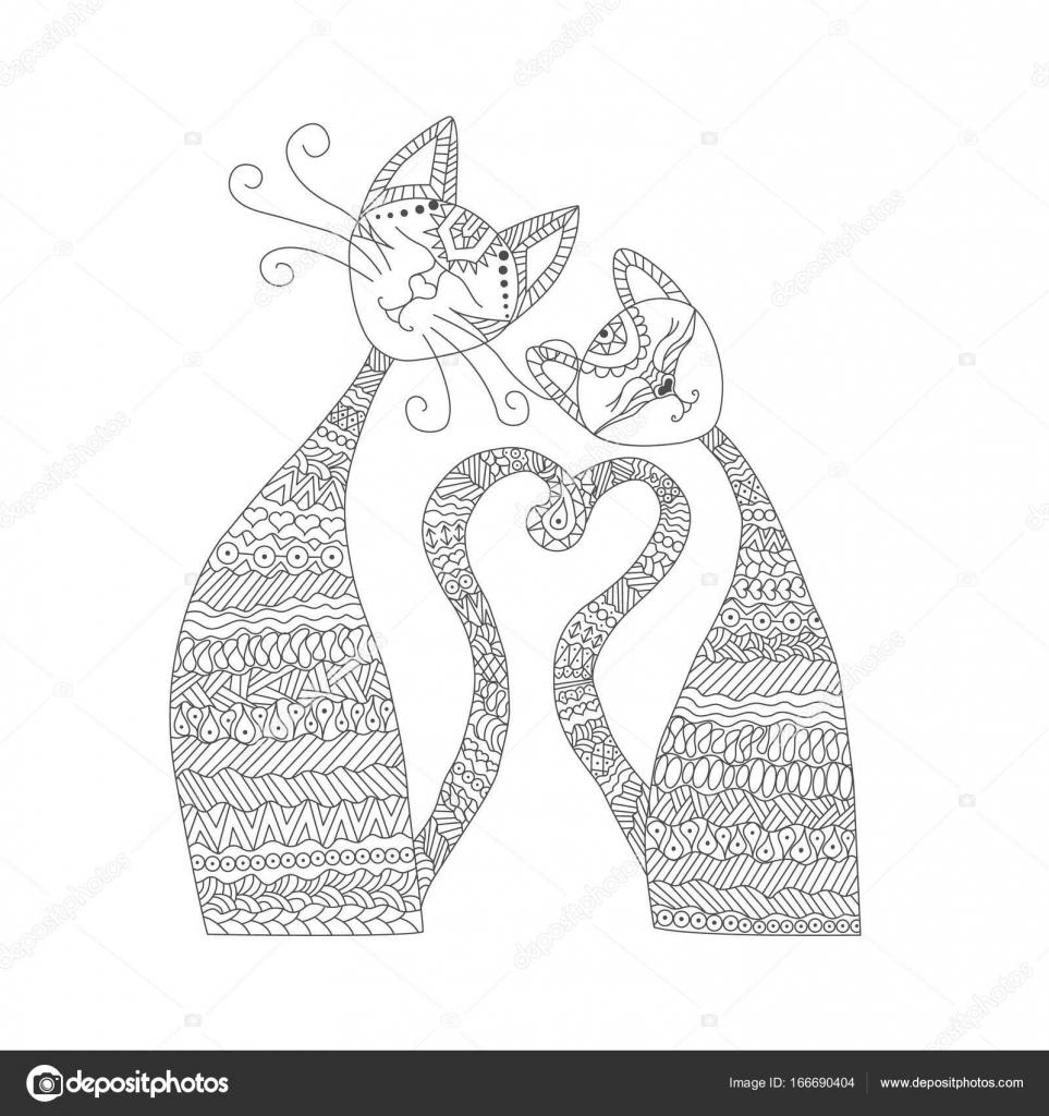 Deux Chats Dans Lamour Livre De Coloriage Anti Stress La Main Des