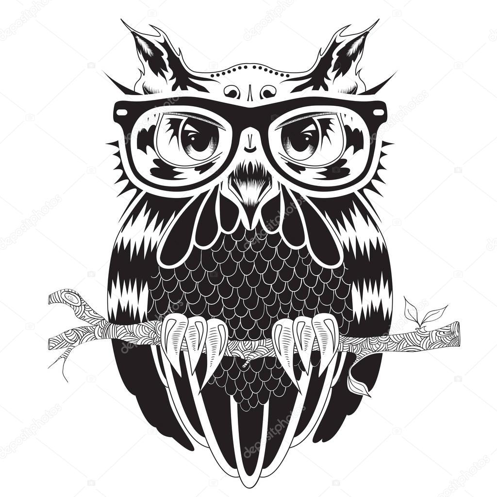 Graphic drawing of owl