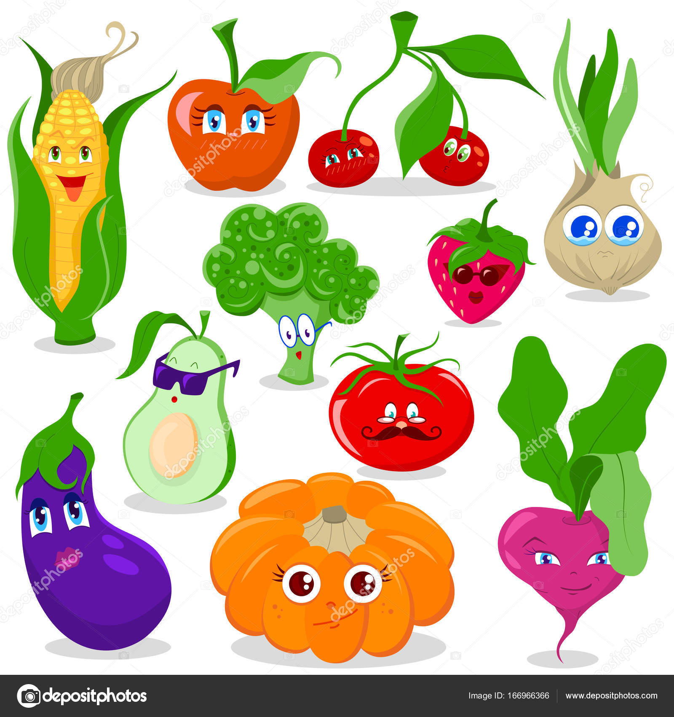 Set De Frutas Y Verduras De Dibujos Animados Vector De