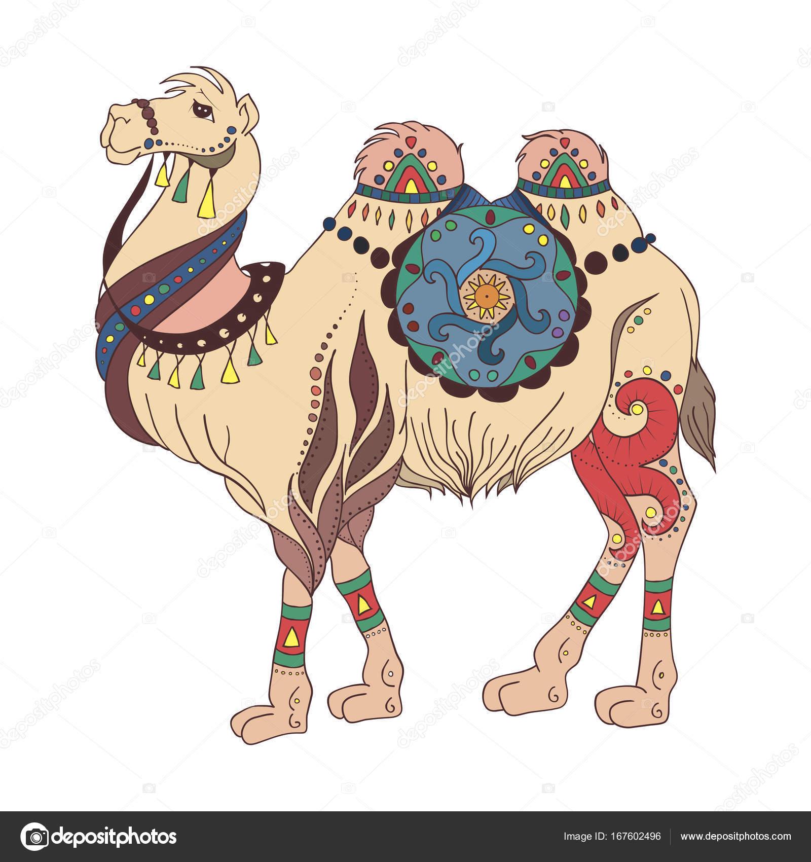 Ethnic camel drawing — Stock Vector © littlepaw #167602496