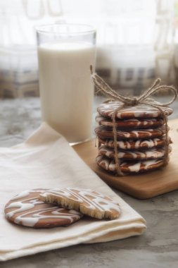 glazed cookies and a glass of milk