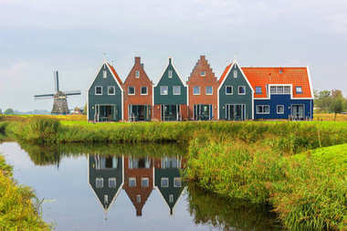 Volendam is a town in North Holland in the Netherlands. Colored houses of marine park in Volendam. North Holland, Netherlands