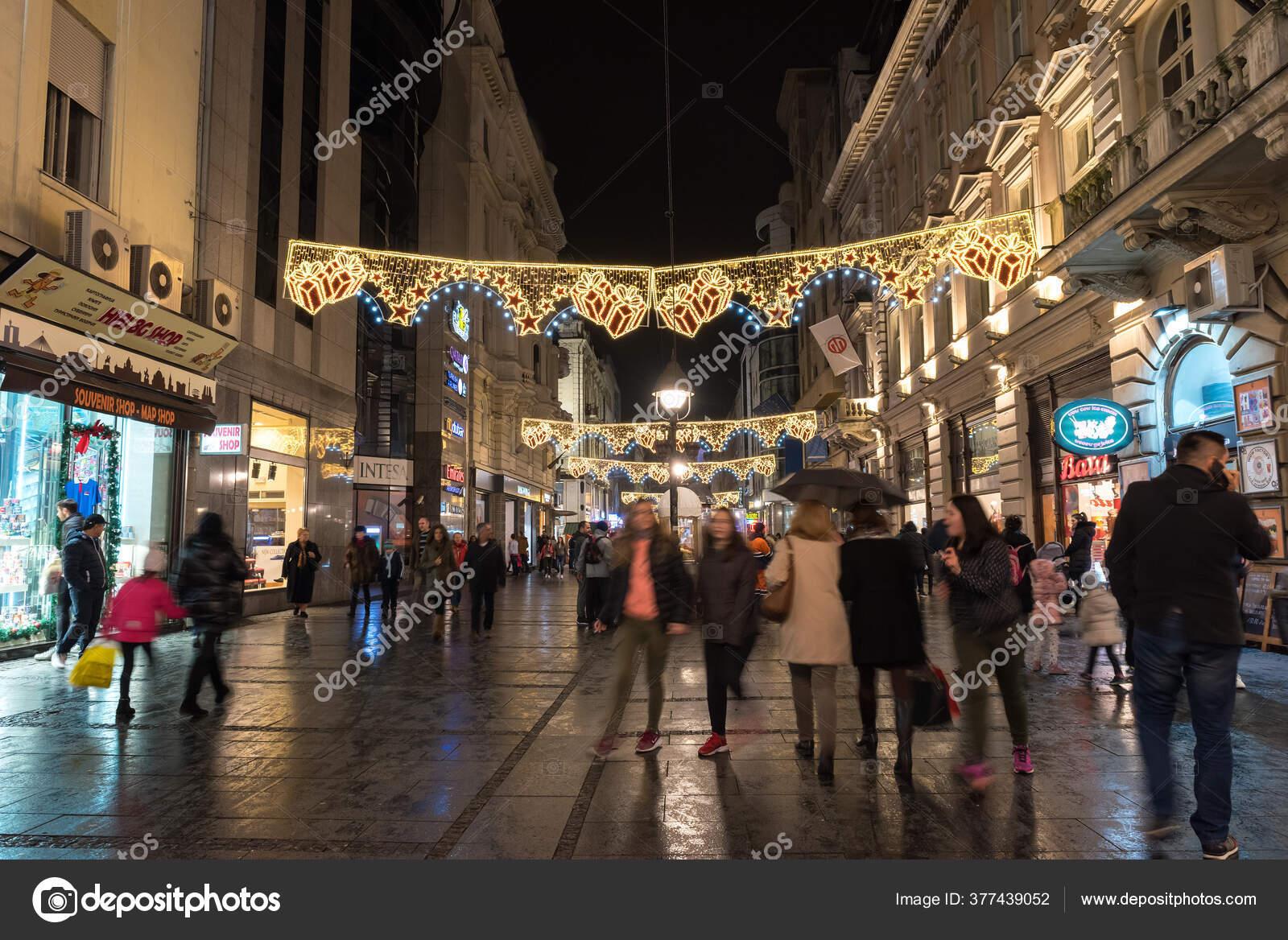 Βελιγραδι Σερβια Φεβρουαριου 2017 Knez Mihailova Street Βράδυ Πιο Διάσημος — Φωτογραφία Αρχείου