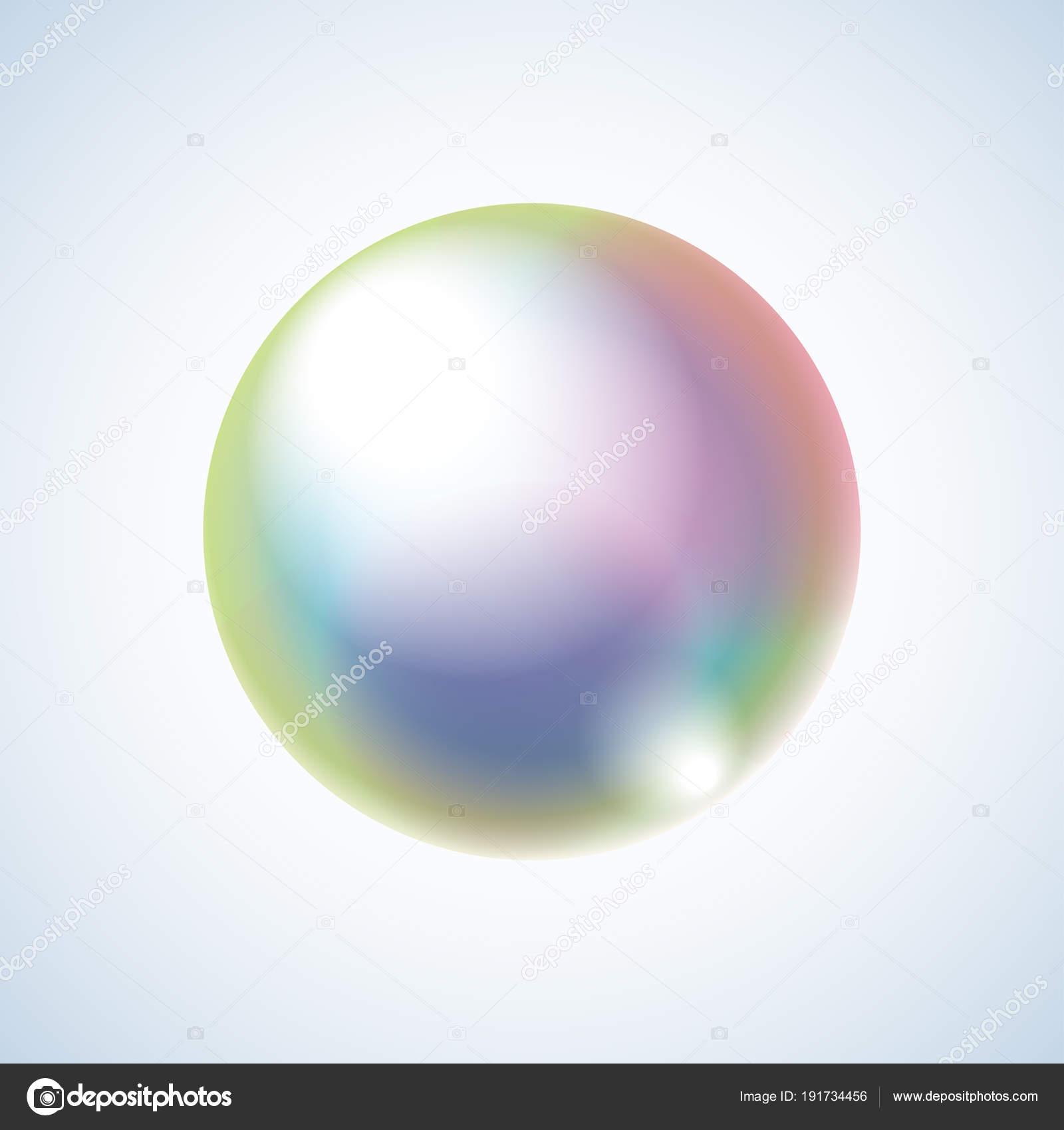 虹反射と現実的なシャボン玉背景に分離ベクトルグラデーション効果と