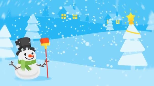 Složení sněhulák Santa Claus Vánoční stromeček Text Štastné a veselé