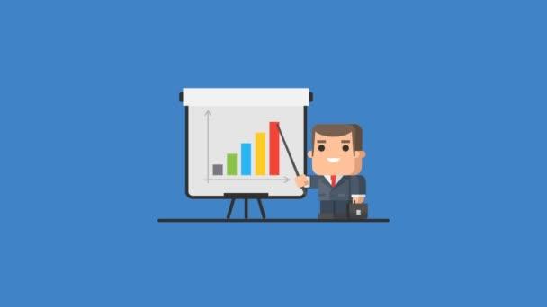 Üzletember álló Flip-Chart és pontok grafikon