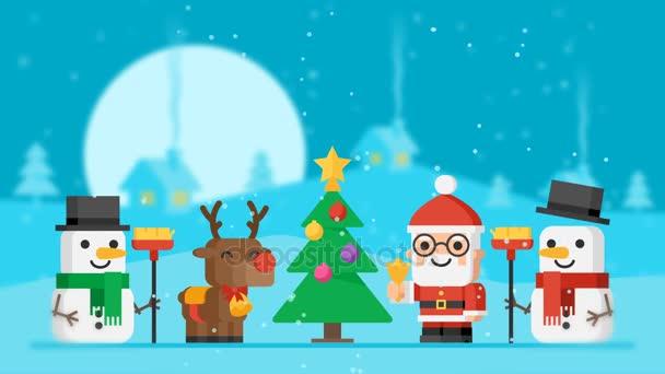Šťastný nový rok koncept Santa Claus Reindeer sněhuláci a vánoční stromeček. Motion grafika. Video pozdrav