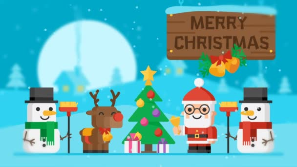 Loop Merry Christmas Concept Santa Claus Reindeer Snowmen and Christmas Tree. Motion Graphics. Video Greeting.