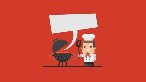 Šéfkuchař je gril a drží kuchyňské stěrky. Video koncept. Motion grafika
