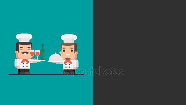 Dva kuchaři drží podnos. Video koncept. Motion grafika