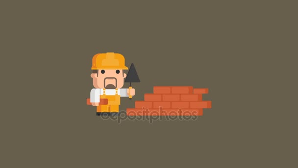 Builder Stands Near Brick Wall and Holding Spatula. Video Concept. Motion Graphics.
